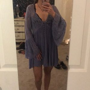 Free people lilac purple lace long sleeve dress